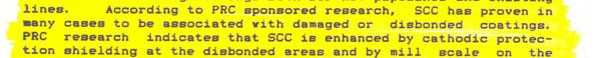 """""""A Review of Gas Industry Pipeline Coating Practices"""" Page 3 excerpt"""