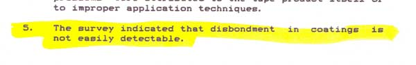 """""""A Review of Gas Industry Pipeline Coating Practices"""" page 4 excerpt"""