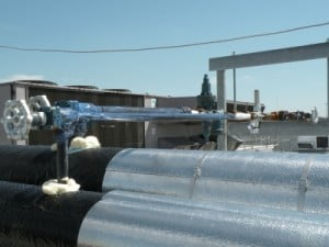 Gel applied to refrigerated lines in a poultry processing plant